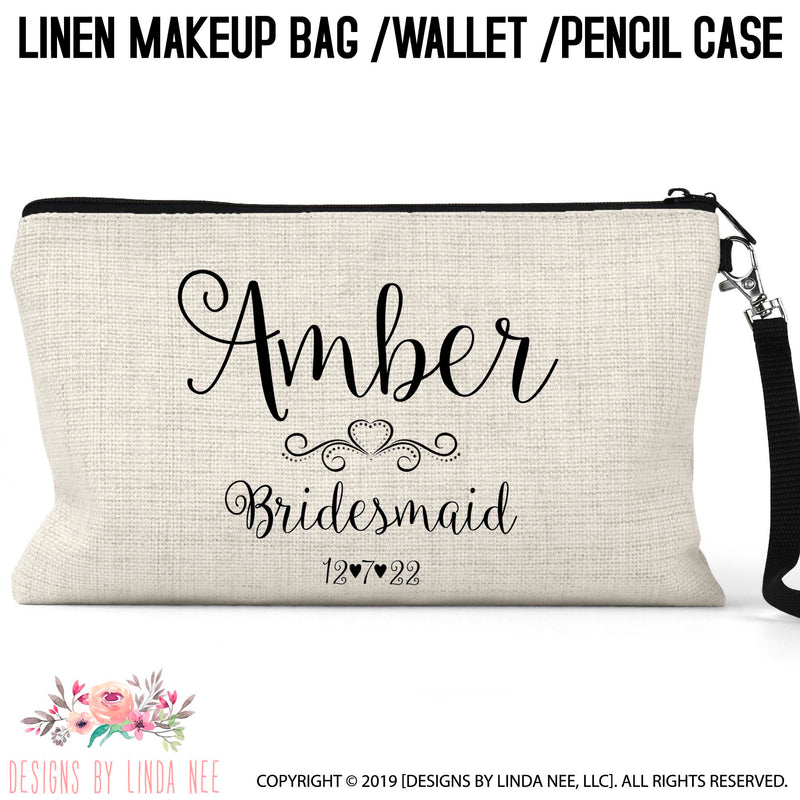 Cosmetic bag with scripted name with heart and scroll embellishment