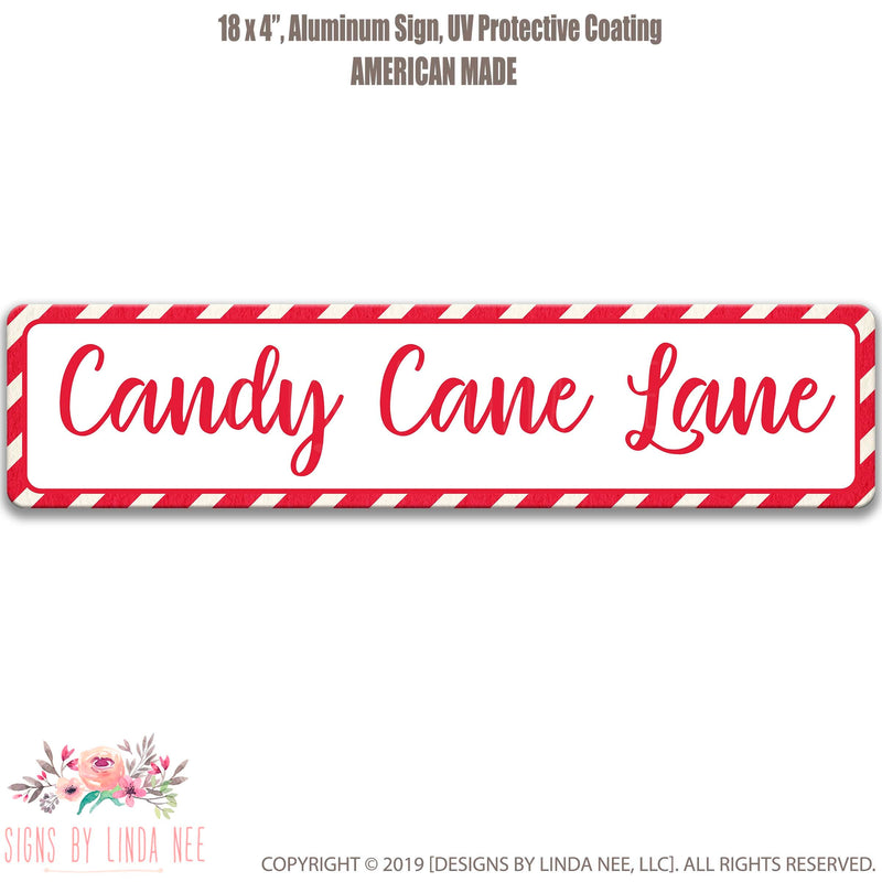 Red font on white background  Saying Candy Cane Lane with Candy Cane Pattern