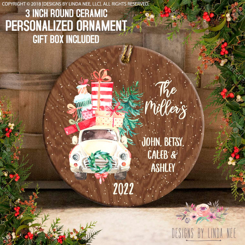 Personalized Car Full of Gifts Wood Ornament