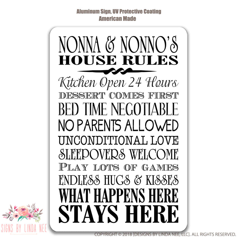 Nonna & Nonno's House Rules Sign on White Background