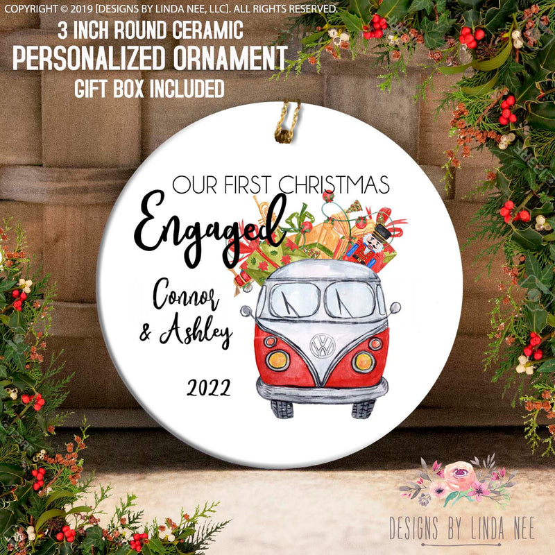 Red VW Bus with Gifts Engaged Ornament