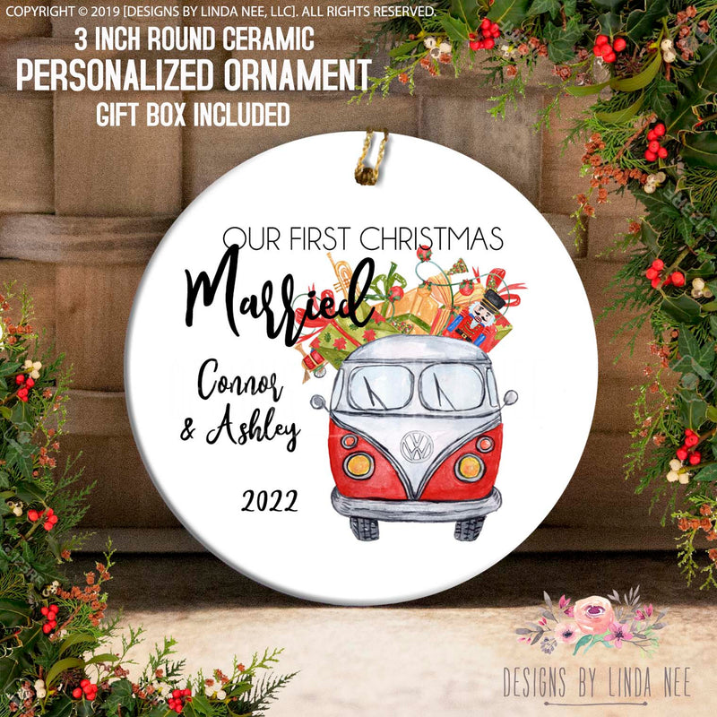 Red VW Bus with Gifts Married Ornament