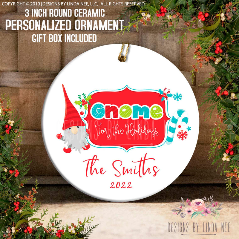 Gnome For The Holidays with Candy Cane Personalized Ornament