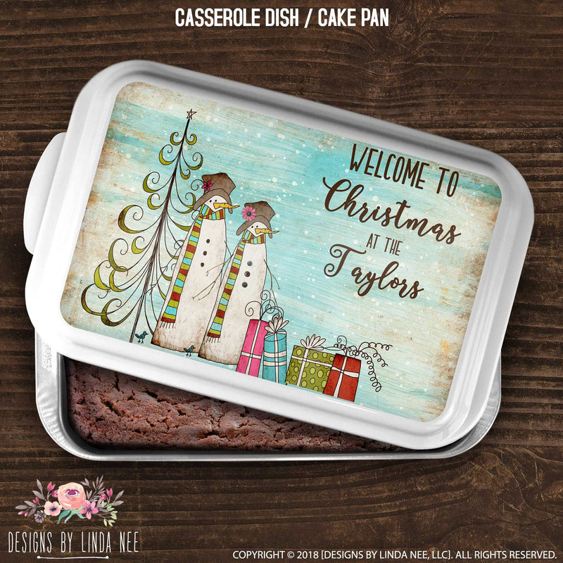 Welcome to Christmas at The Smiths cake pan cover with primitive snoman couple on blue background
