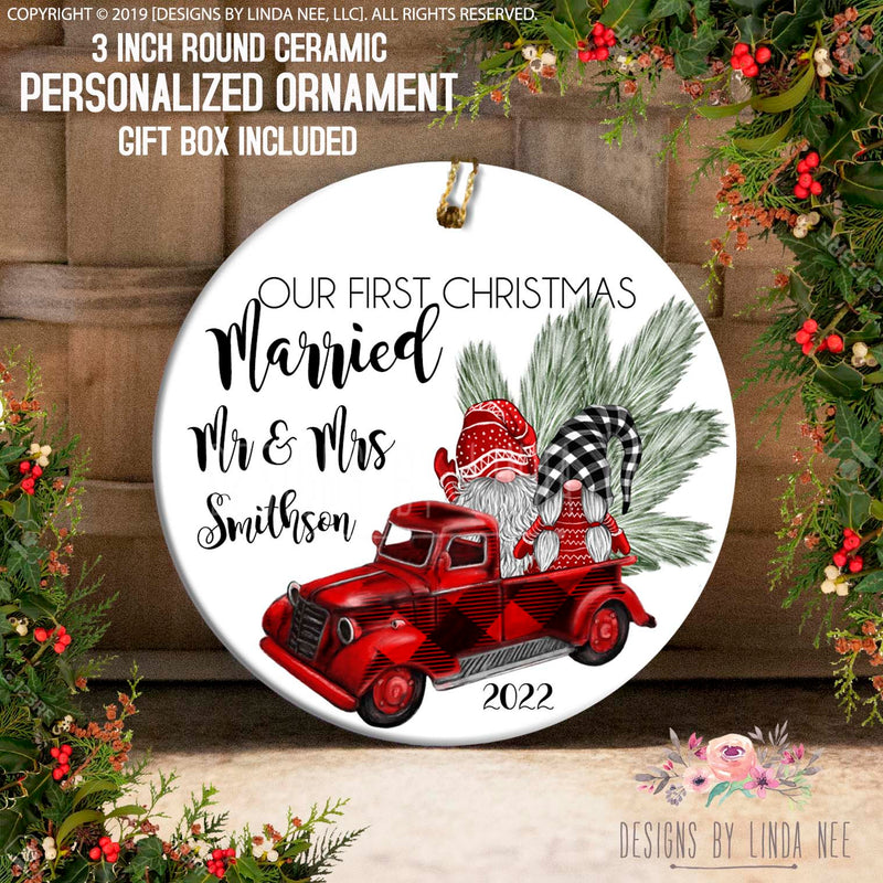 Gnomes in Buffalo Plaid Truck Just Married Ornament