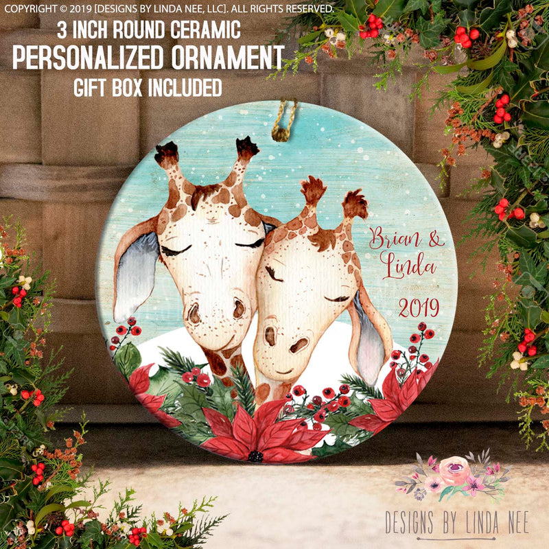 Brian & Linda 2019 Giraffe Duo on Poinsettia Personalized Ornament