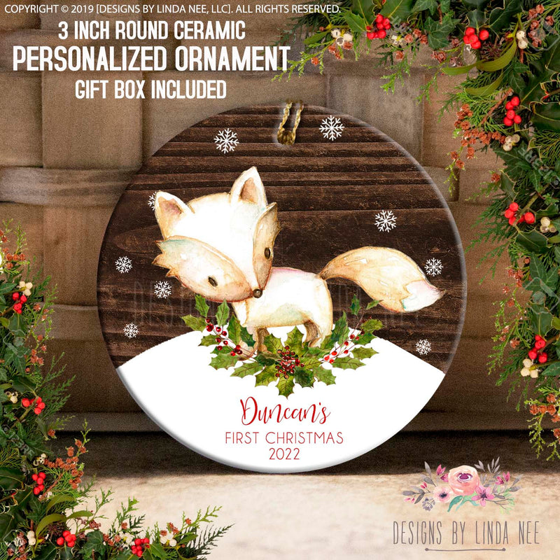 Duncan's First Christmas Personalized Woodland Fox Sideview and Snowflakes Ornament