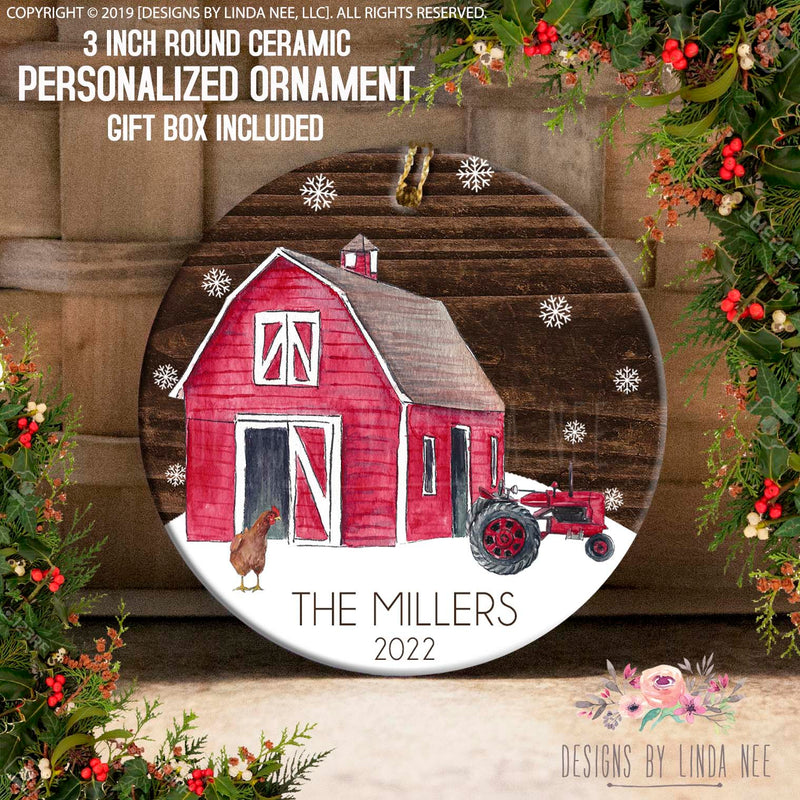 Personalized Woodland Red Barn Ornament