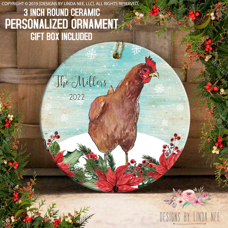 Rooster on Poinsettia Personalized Ornament