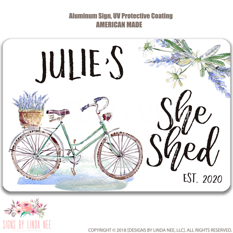 Black font on white background Julie's She Shed Est. 2020 Bicycle with Lavender