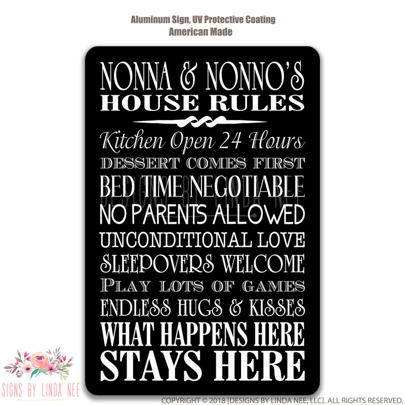 Nonna & Nonno's House Rules Sign on Black background
