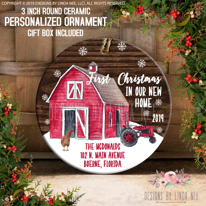 Personalized Woodland Red Barn New Home Ornament