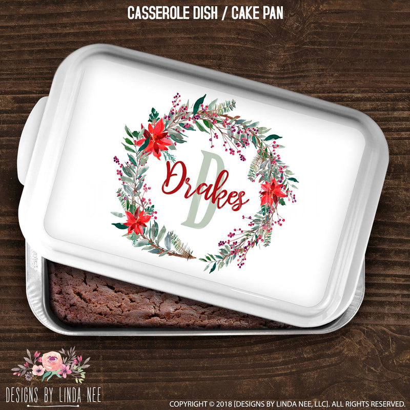 Personalized Poinsettia Wreath Monogrammed Name Casserole / Cake Pan