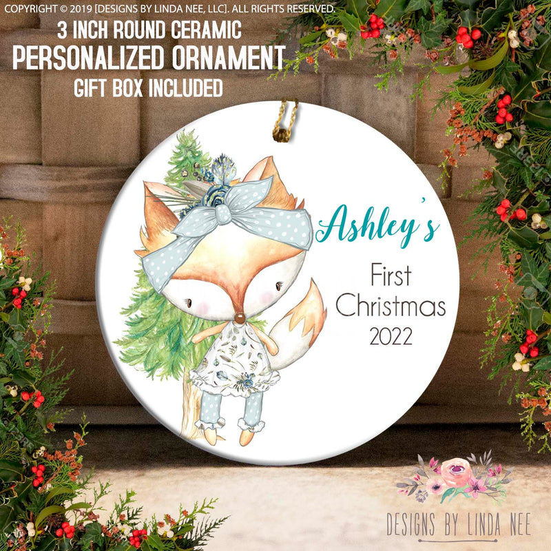 Ashley's First Christmas 2022 Baby Fox in Front of Tree 1st Christmas Ornament