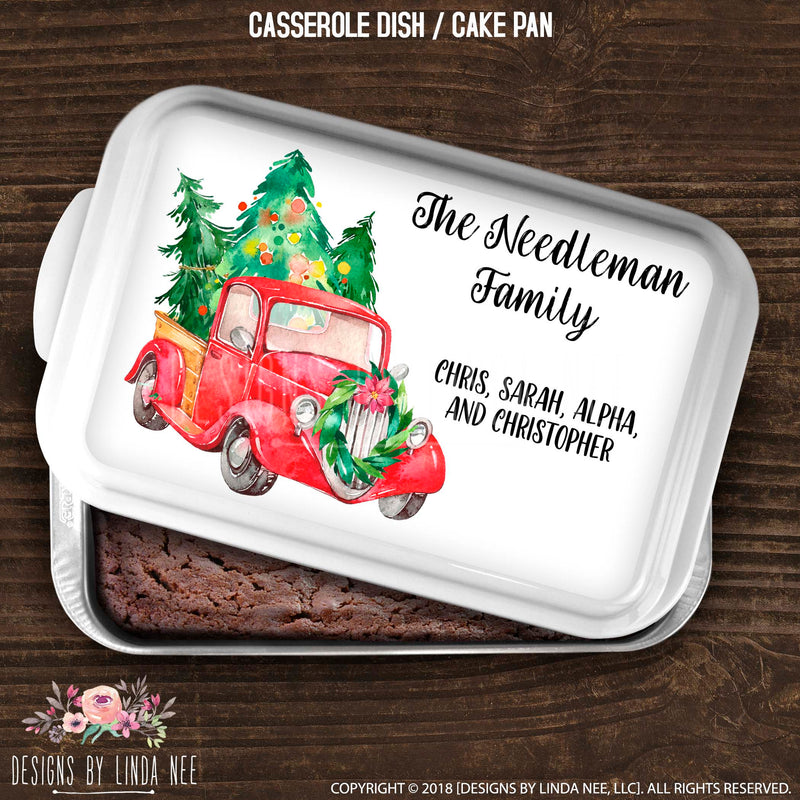 White cake pan cover Customized saying The Needleman Family Chris, Sarah, Alpha and Christopher. Red Vintage Truck beside names