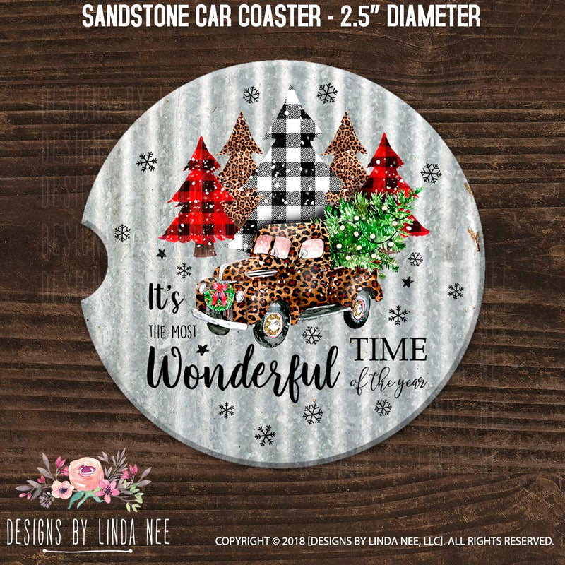 Car coaster with leopard and checkered print Christmas truck and trees on grey sandstone coaster