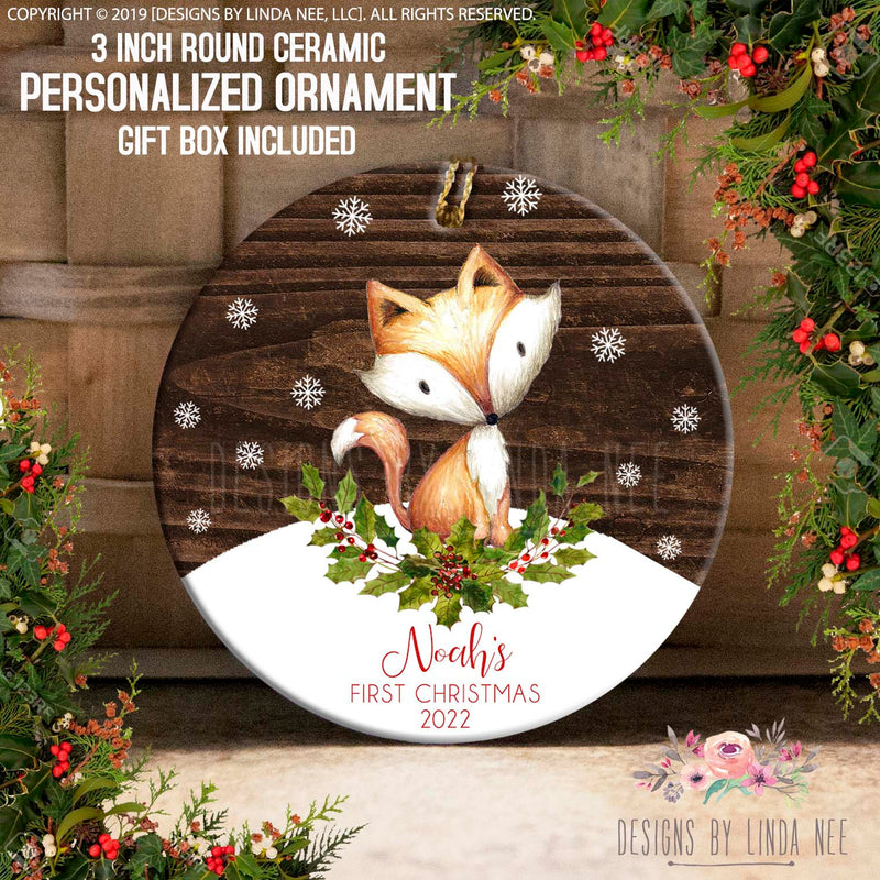 Personalized Woodland Fox and Snowflakes Ornament
