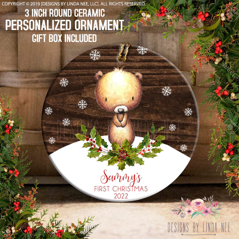 Personalized Woodland Bear and Snowflakes Ornament