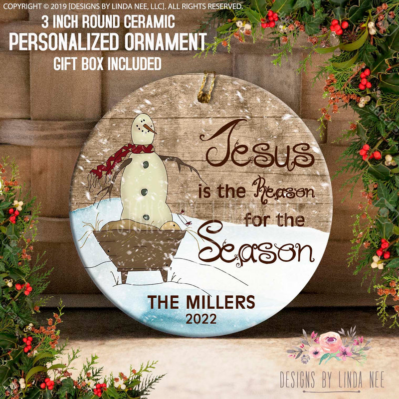 Jesus is the Reason For The Season The Millers 2022 Nativity Personalized Ornament