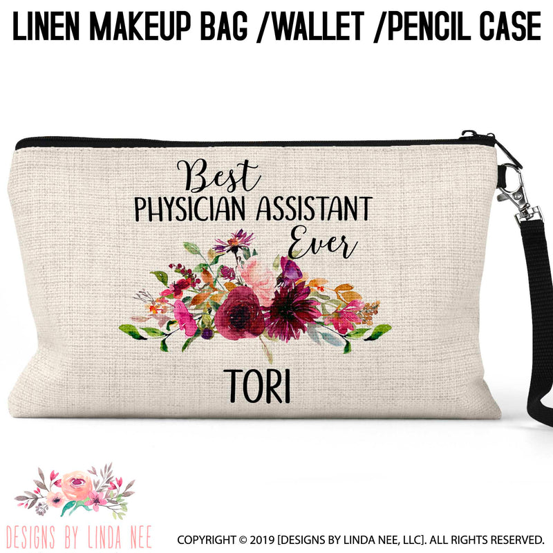 Best PA Ever quote on linen cosmetic bag with floral swag design in middle