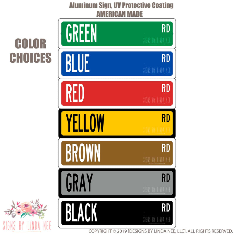 Our color chart Green, Blue, Red, Yellow, Brown, Grey and Black.