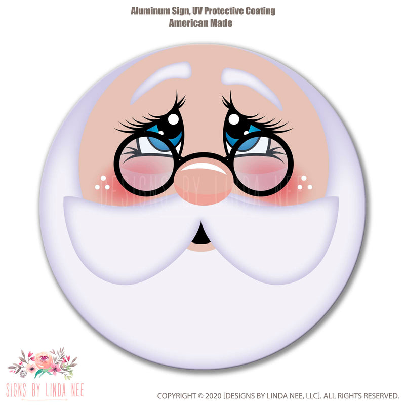 Santa Face Blue Eyes with glasses on a white background