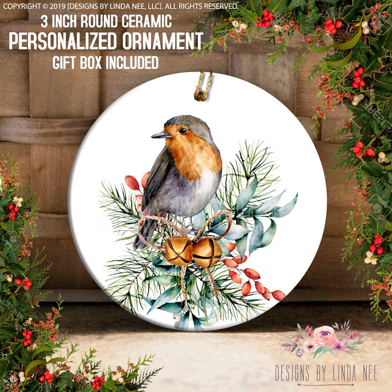 European Robin with Bells Ornament