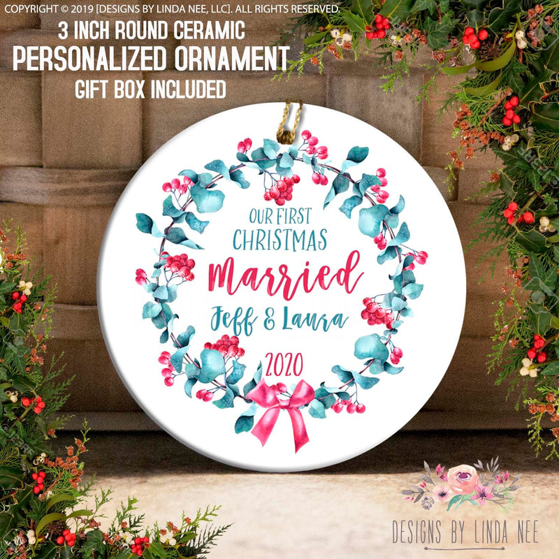 Our 1st Christmas Married Red Berry Eucalyptus Wreath Ornament