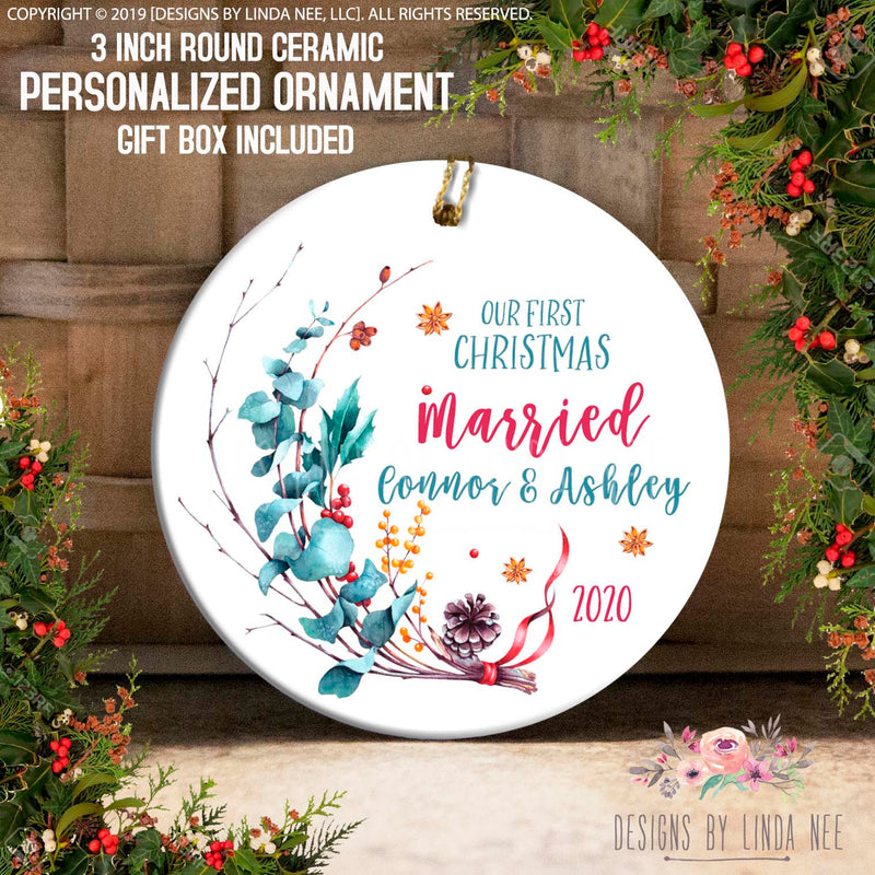 Light Blue font saying Our First Christmas Engaged Connor & Ashley 2020  with Hollytree assortment