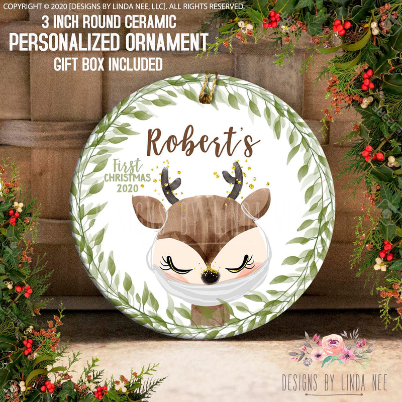 Rrobert's first christmas 2020 Baby deer with face mask