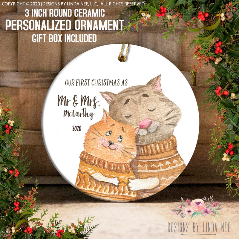 Cat Couple 1st Christmas as Mr & Mrs Personalized Ornament