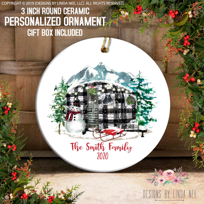 Black Camper At Mountain Family Personalized Ornament