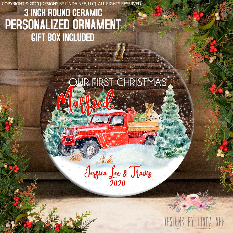 Married Red Truck Presents Personalized Ornament
