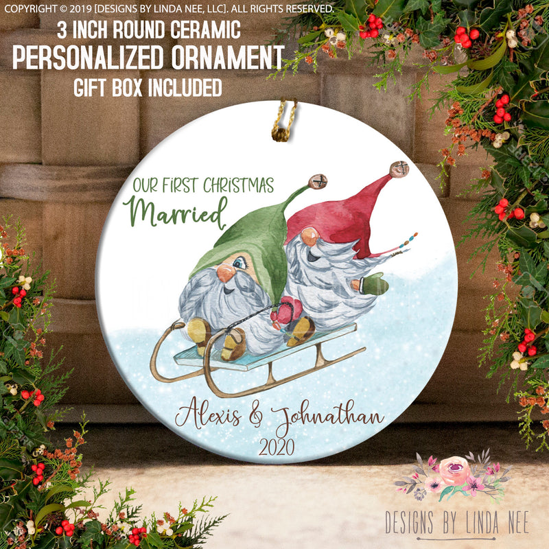 Married Sledding Gnomes Personalized Ornaments