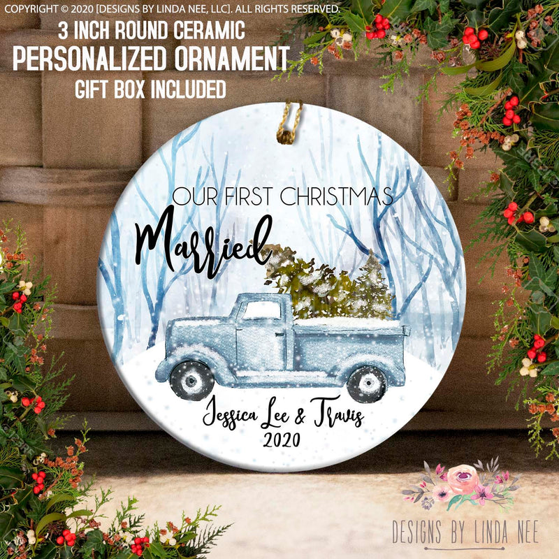 Blue Christmas Tree Truck Winter Married Personalized Ornament