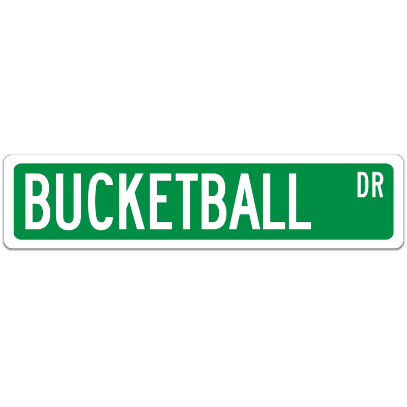 Bucketball Street Sign white font Brown with white