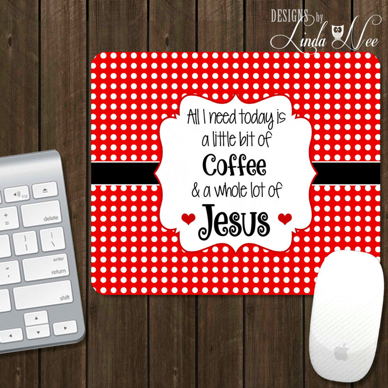 Bright red and white polka dot mousepad with quote in middle