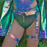 Jade Opal Crystal O-Ring Garter Belt | MTO