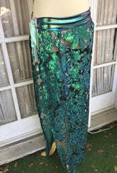 Peacock Filigree Sequin Maxi Skirt - S/M