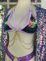 Lavender Sunset Sequin Chain & Crystal Top