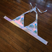 White Unicorn Pleather Triangle Top - L