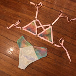 Pink Double Rainbow Cross My Heart Triangle Top - M