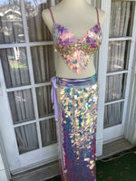 Mermaid Tears Sequin Maxi Skirt - Periwinkle Band M/L
