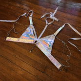 White Unicorn Convertible Harness Triangle Top | MTO
