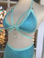 Blue Mermaid Strappy Crystal Set - S/M