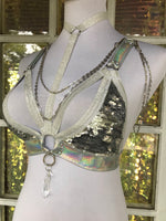 Silver Holo Convertible Harness Triangle Top - S/M