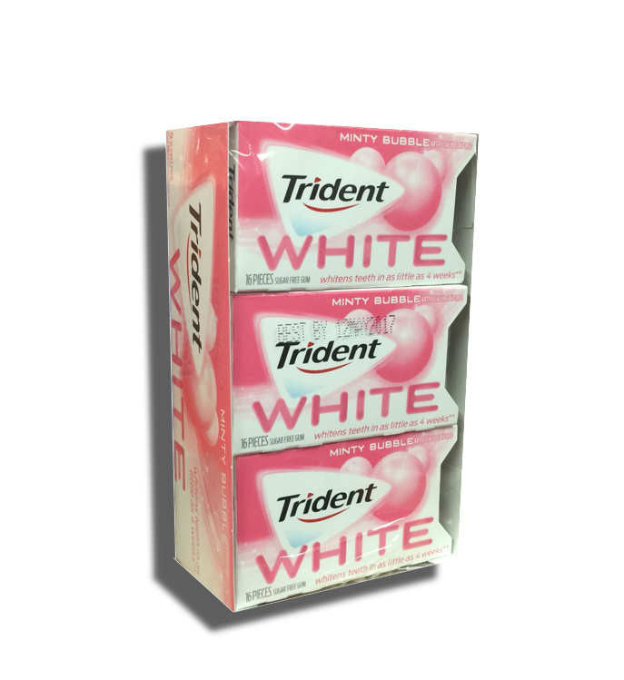Trident White Minty Bubbly Sugarless Gum 9Ct Box 16 Pieces Per Pack