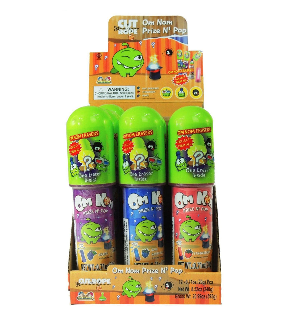 Cut The Rope Prize Pop with Om Nom Erasers 12CT Box .71oz Pops