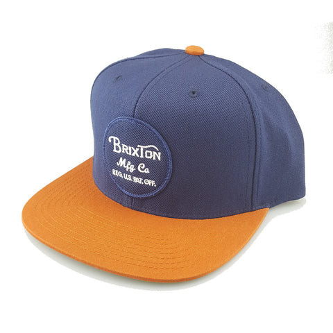 Brixton - Wheeler Snapback - Navy/Orange