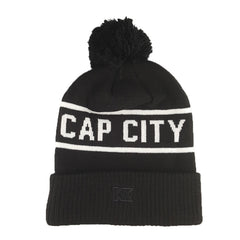 Cap City - Black + White Pom Knit Beanie - Cap City